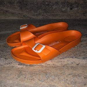 Birkenstocks Madrid Solid Orange Foam Sandals